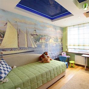 Двухуровневый подвесной натяжной потолок в детскую